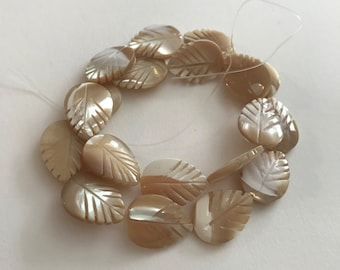 20mm Carved Mother of Pearl Leaves, 14.5 Inch Strand