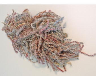 Hand Spun Art Yarn With Lamb's Tail in Kid Mohair Variegated, Mauve, Blue 18-5-20
