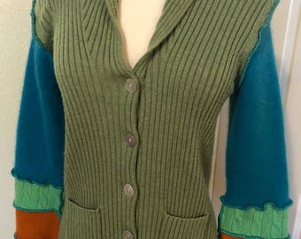 Upcycled cardigan sweater