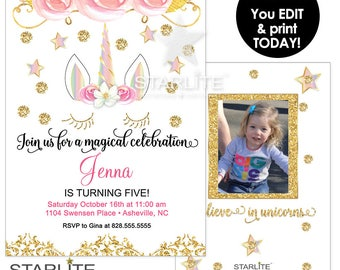 Unicorn Birthday Invitation, EDITABLE INSTANT DOWNLOAD, Unicorn Photo Invitation Printable, Floral Pink Gold Glitter Unicorn Birthday Invite