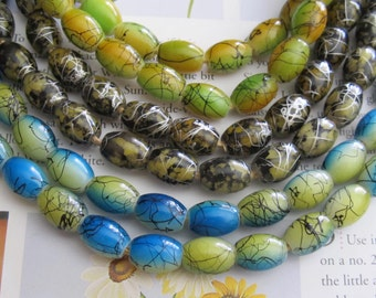 African Trade Beads, Brown Oval Glass Bead, Brown Barrels, Multi Color Ellipsoid, Yellow Barrel, 25 Pcs