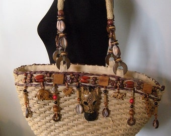 Vintage Cappelli Market Bag / tote ~ Exotic Animals ~ Beaded ~ shells ~ Carved wood ~ Zebra ~ Jungalow
