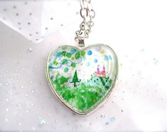 Candy Forest art glass pendant image of original artwork, heart or round pendant