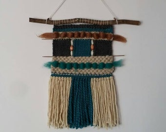Handwoven wall hanging/Tapestry/Handloom/Weaving/Blue and Natural tones
