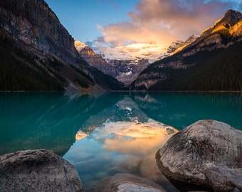 Fine Art Photo Print, Lake Louise, Banff Alberta Canada, Mountain Sunrise, Canadian Rockies, Landscape Nature Photography