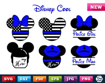 Disney Police Officer Svg Mickey Mouse Police Split Svg Minnie Mouse Police Officer Svg Mickey Mouse Ears Svg Mickey Mouse Head Silhouette