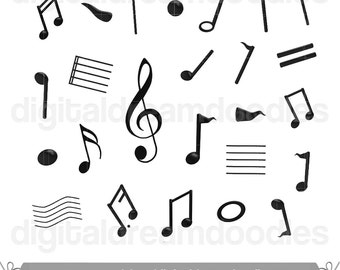 Music Notes Clipart, Musical Note Clip Art, Music School Image, Music Teacher Graphic, Sheet Music Note Scrapbook,  Instant Digital Download