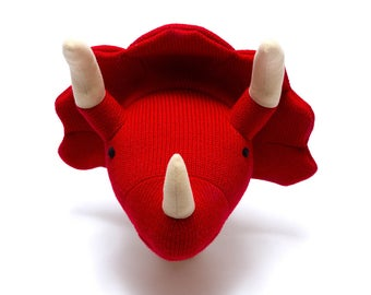 Red Triceratops Dinosaur Head Room Decoration; Nursery Decor