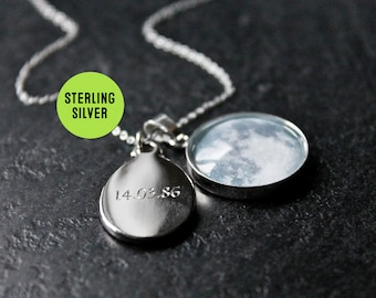 Custom Sterling Silver Moon Phase Necklace with Engraved Date - Personalised Glass Dome Birth moon Necklace pendant
