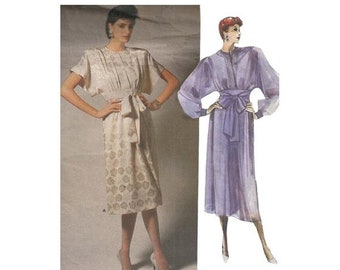 ON SALE 1980s Albert Nipon Dress Vintage Vogue Designer Sewing Pattern 1692 Loose Fitting Pleated Front Kimono Sleeves Size 8 Bust 31.5