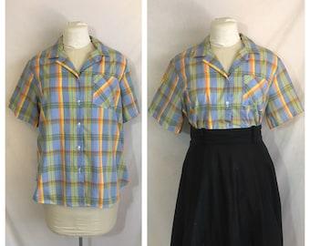 Vintage 1980's Periwinkle Plaid Women's Shirt
