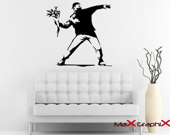 """Banksy Wall Decal, 27"""" x 28"""" Molotov Guy Inspired Removable Wall Decal"""