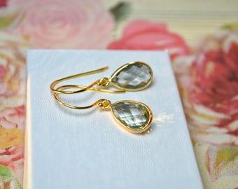 Green Amethyst Earrings, Gold Vermeil Pear Drop Earrings, Green Amethyst Jewelry, Sage Green Drop Earrings, Gemstone Earrings, Birthday Gift