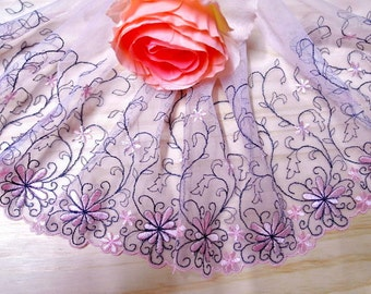 "DN640-6"" Pink  Embroidered  Tulle Mesh Lace/Bridal/Lolita/  Trim by Yard"