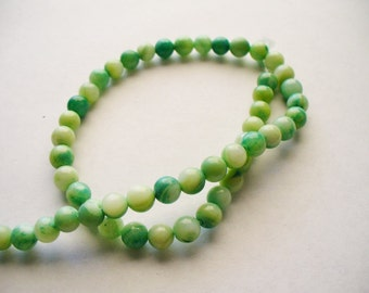 Mother of Pearl Beads Green Round 5MM