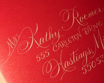 STYLIZED SCRIPT Calligraphy Wedding Envelope Addressing Dip Pen and Ink