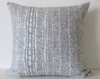 Global Lines Greystone decorative pillow cover gray tribal lines