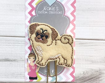 Pug Paper Clip- Pug Paperclip - Planner Accessories - Pug Feltie- Planner Paper Clips - Planner Accessory
