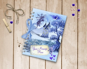 Handmade Personalised Journal Memory Book A5 Size, Twilight Dragon Fairytale, Choose Notebook Journal Writing Book or Memory Scrapbook Book