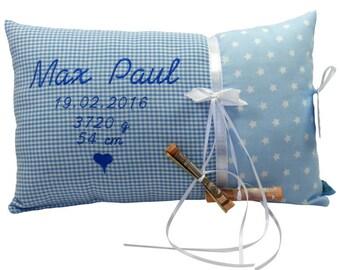 Personalisiertes Kissen zur Geburt oder Taufe, in blau, aus Baumwollstoff, ein tolles Kuschelkissen,Namenskissen, für Kind und Babyser
