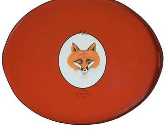 Fox Hand Painted Tole Tray