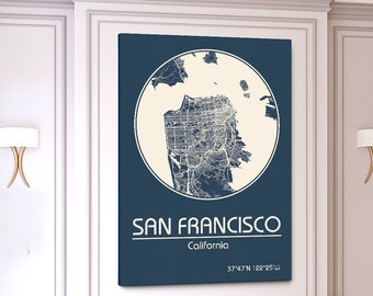 SAN FRANCISCO Canvas Map City Map San Francisco California Art Print San Francisco CA poster San Francisco map art United States Poster