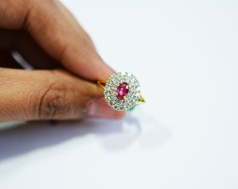 elegant and simple Natural ruby and diamond ring