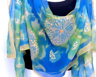 """Hand Painted Silk Scarf, Gold Dandelion Seeds, Blue Green Gold,  71"""" Long Scarf,  Silk Chiffon Scarf, Gift For Her"""