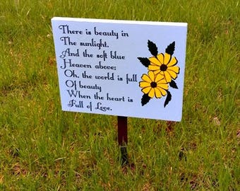 Garden Sign, Wood Sign, Garden Decor, Yard Decoration, Daisy Decor, Outdoor Sign, Light Blue Yard Sign, Birthday Gift, Wedding Gift