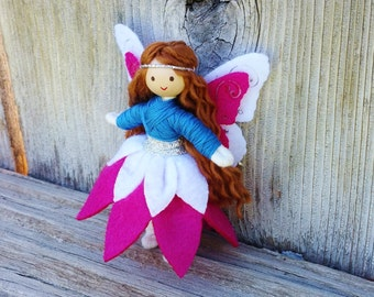 Fairy Doll - Waldorf Fairy -  Bendy Doll (brown hair) - Blue - Pink  - Flower Fairy - Fairy Princess - Butterfly Wings - Fairy Garden