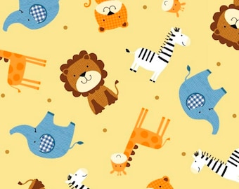 Noah's Ark Tossed Animals in Medium Cream fabric from the Noah's Story Collection by Swizzle Stick Studio for Studio E Fabric #3662-44