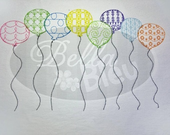 Birthday Party Balloons Embroidery Colorwork Redwork design machine embroidery