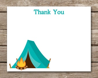 Camping Thank You Cards, Camping Party Thank You, Camping Birthday Thank You, INSTANT DOWNLOAD, PRINTABLE