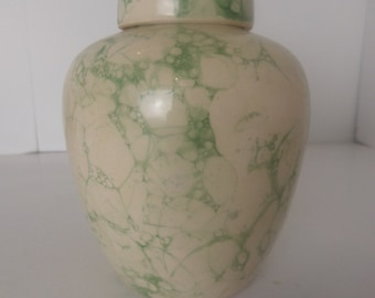 Green Marbled Chinese Ginger Jar