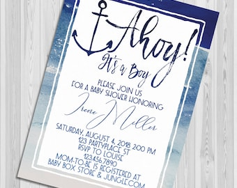 Ahoy it's A Boy Baby Shower Invitation, Watercolor Nautical Anchor Baby Shower invite, Printable Party Invitation