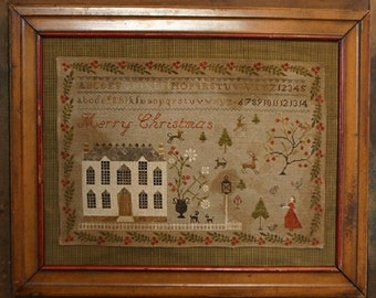 STACY NASH PRIMITIVES Christmas at Hollyberry Farm counted cross stitch patterns at thecottageneedle.com sampler holidays December