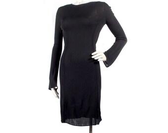 Vintage 90s Dress - 90s Black Dress - 90s Calvin Klein - Calvin Klein Dress - Body Con Dress - Minimalist - Black Jersey Dress - Avant Garde