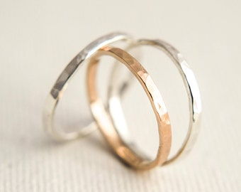 Stacking Rings - Rose Gold Stacking Rings - Thick Stacking Rings - Mixed Metal Rings - Gold Stacking Rings - Stacking Ring Set