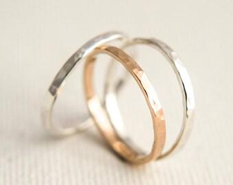 Stacking Rings - Rose Gold Stacking Rings - Thick Stacking Rings - Mixed Metal Rings - Gold Stacking Rings - Stacking Ring Set