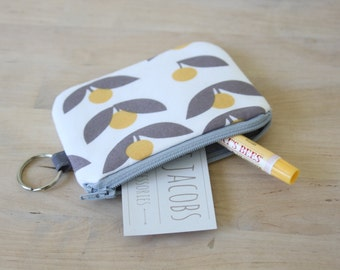 Mini Wallet in Tove Dandelion - Pouch with Key Ring, Small Zip Pouch, Valentines Gift