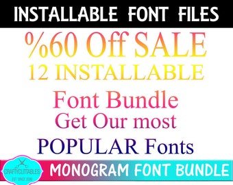 SALE 12 Installable Font Bundle, Circle Monogram Bundle,Interlocking Font Bundle,Sale Bundle,Installable Bundles,Fonts Bundle, ttf