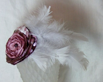 Blooms and Plumes Headband with Pink Blush Fabric Flower and Pale Grey Feathers