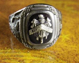 1937 Junior High School class Ring VKS Vintage East Stroudsburg Pennsylvania Sterling Silver students womens 7.3 grams size 5 3/4