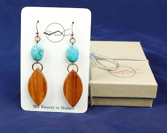 Wood Dangle Earrings for women, nature inspired, modern nature jewelry, eco friendly tribal jewelry, nature earring, copper earrings