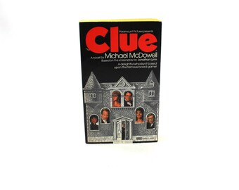 NEAR-MINT First Edition Clue movie book by Michael McDowell - Fawcett Press, 1985, 1986, 1980s, novelization, paperback, rare & out of print