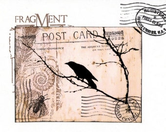 Crow Greeting Card - Altered Art - Collage - Original - FREE US SHIP