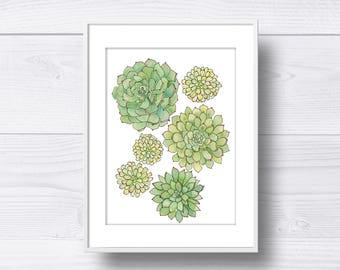 Spring Succulents Watercolor Print