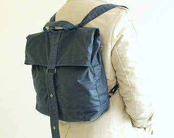 Waxed canvas backpack, waxed canvas rucksack, blue backpack, messenger bag, holdall, unisex bag, tote - The Navy Multi Way Backpack
