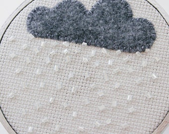 Little Gray Rain Cloud Embroidery Hoop Art with Felt and Beading.