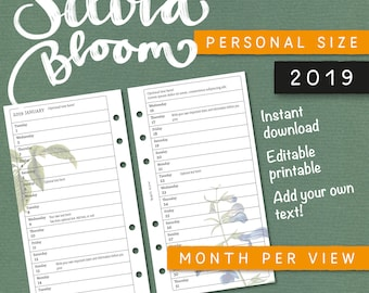 Silvia Bloom – Editable printable planner – Month per view – filofax Personal size – 2019 – Add your own text – Instant download – Kikki K